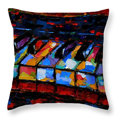 Abstract Music Painting Throw Pillow featuring the painting Keyboard by Debra Hurd
