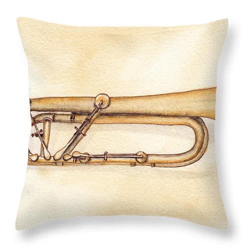 Trumpet Throw Pillow featuring the painting Keyed Trumpet by Ken Powers