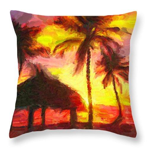 Florida Keys Throw Pillow featuring the digital art Keys by Caito Junqueira