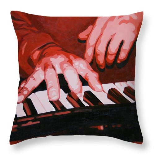 Piano Throw Pillow featuring the painting Keys by Guenevere Schwien