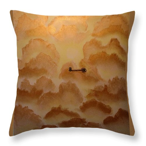Gold Throw Pillow featuring the painting Keys To The Kingdom by Laurie Kidd