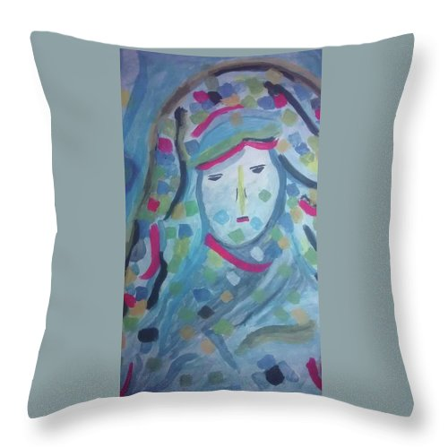 Throw Pillow featuring the painting Khotot by Hassan Elouardi