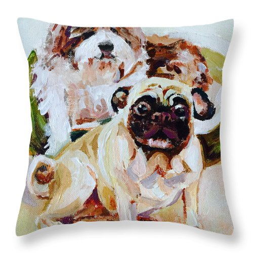 Pet Portrait Throw Pillow featuring the painting Kia And Maddie by Renato Ochoa
