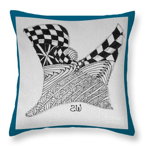 Zentangle Throw Pillow featuring the drawing Kick Off by Sharra Walton