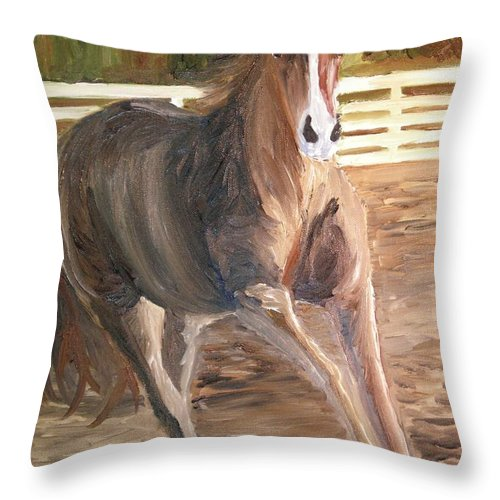 Horse Throw Pillow featuring the painting Kicking Dirt by Michael Lee