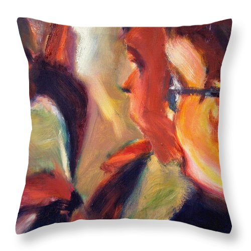 Dornberg Throw Pillow featuring the painting Kids by Bob Dornberg
