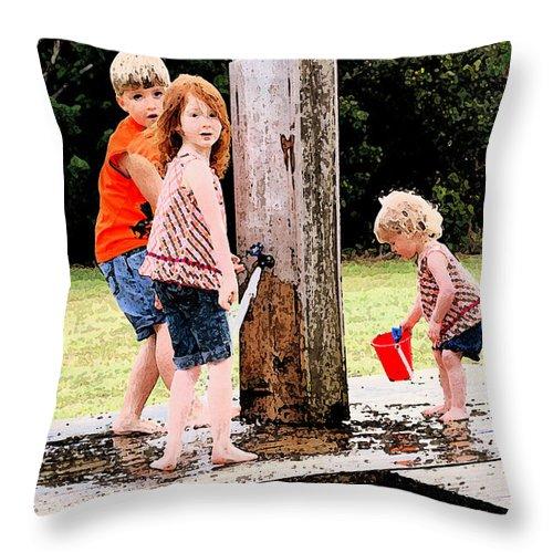 Summer Throw Pillow featuring the photograph Kids Fresco by Phil Burton