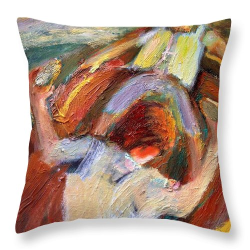 Dornberg Throw Pillow featuring the painting Kids In A Rowboat by Bob Dornberg