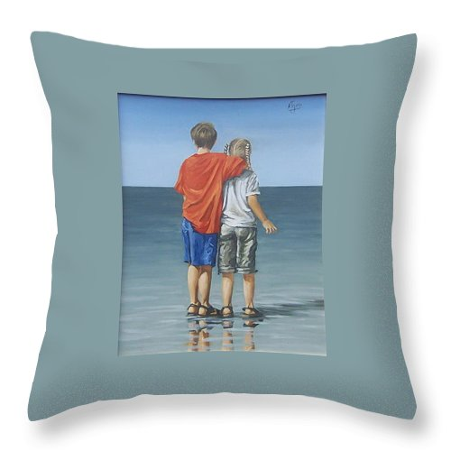 Kids Throw Pillow featuring the painting Kids by Natalia Tejera