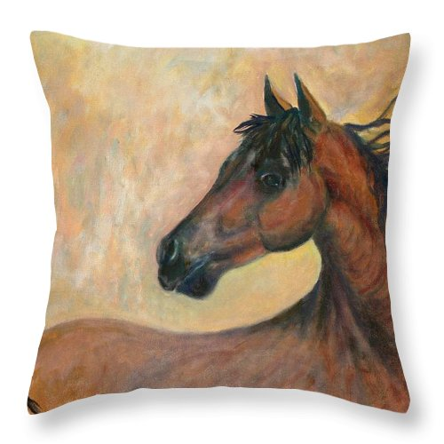 Horse Throw Pillow featuring the painting Kiger Mustang by Ben Kiger
