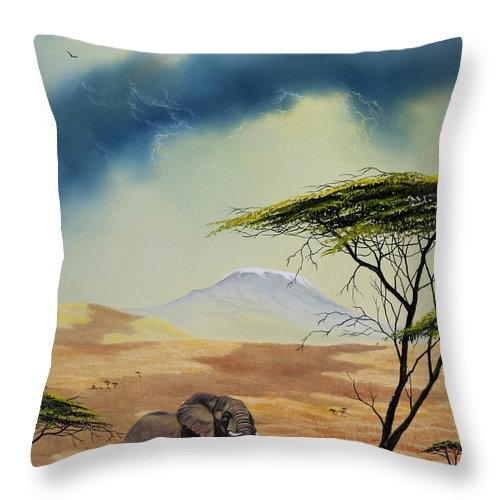 Landscape Throw Pillow featuring the painting Kilimanjaro Bull by Don Griffiths