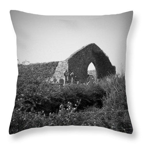 Irish Throw Pillow featuring the photograph Kilmanaheen Church Ruins Ennistymon Ireland by Teresa Mucha