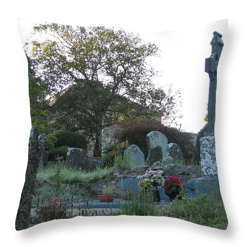 Graveyard Throw Pillow featuring the photograph Kilmokea Graveyard by Kelly Mezzapelle