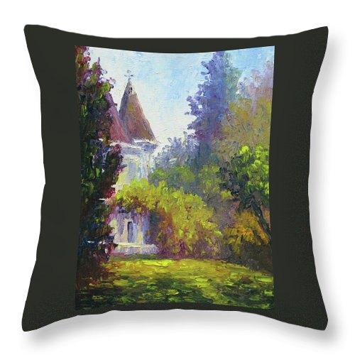 Impressionist Throw Pillow featuring the painting Kimberly Crest by Terry Chacon