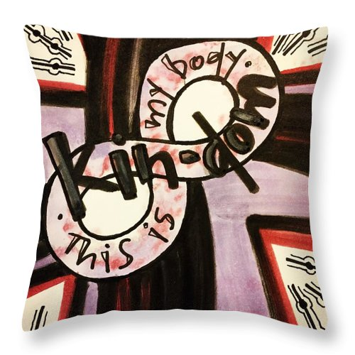 Kindom Throw Pillow featuring the painting Kin-dom by Vonda Drees