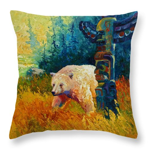 Western Throw Pillow featuring the painting Kindred Spirits - Kermode Spirit Bear by Marion Rose