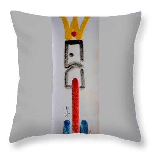 Figure Throw Pillow featuring the drawing King by Charles Stuart