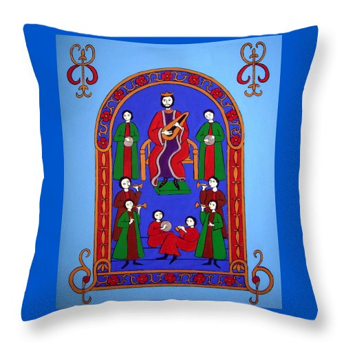 King David Throw Pillow featuring the painting King David And His Musicians by Stephanie Moore
