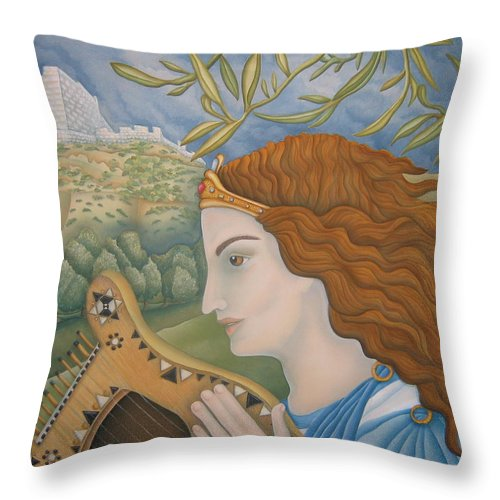 Bible Throw Pillow featuring the painting King David In His Youth by Jeniffer Stapher-Thomas