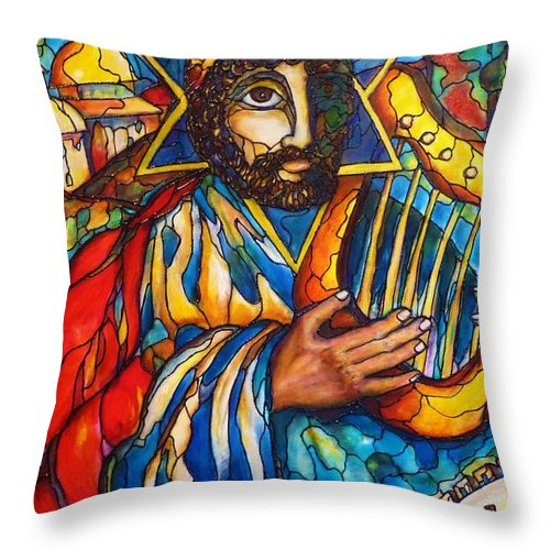 Original Art Throw Pillow featuring the painting King David by Rae Chichilnitsky