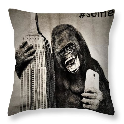 Architecture Throw Pillow featuring the photograph King Kong Selfie by Rob Hans