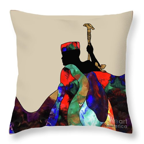 King Throw Pillow featuring the painting King by Marcella Muhammad