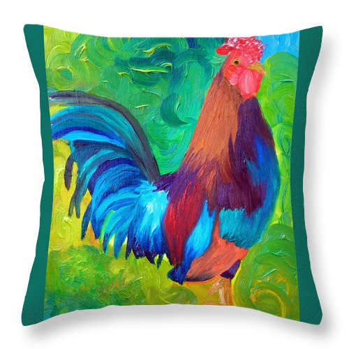 Rooster Throw Pillow featuring the painting King Of The Barn by Michael Lee