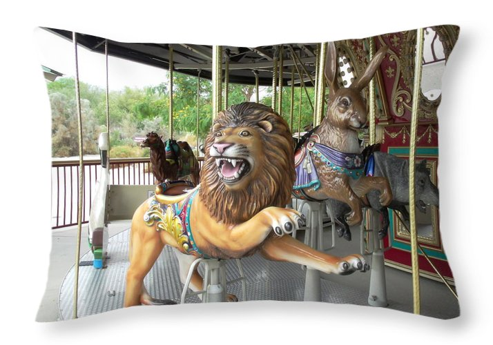 King Of The Carousel Photography on Large Throw Pillow