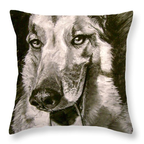 Charcoal Throw Pillow featuring the drawing King Of The Dogs by Nils Bifano