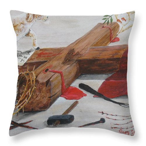 Lamb Throw Pillow featuring the painting King Of The Jews by Gregory Staton