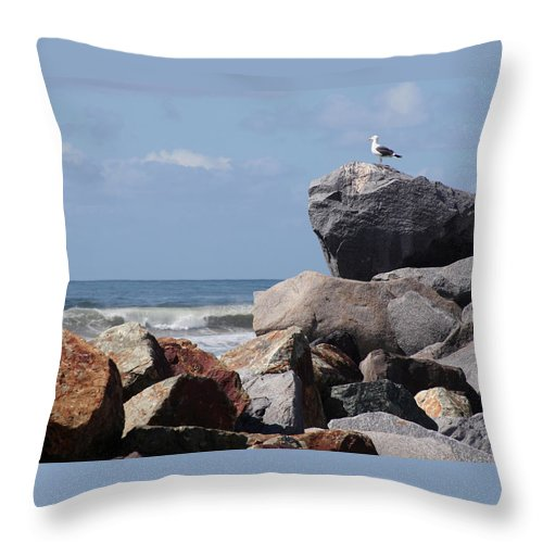 Beach Throw Pillow featuring the photograph King Of The Rocks by Margie Wildblood