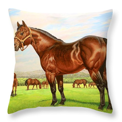 Quarter Horse Throw Pillow featuring the painting King P-234 No.two by Howard Dubois
