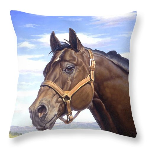 Quarter Horse Throw Pillow featuring the painting King P234 by Howard Dubois