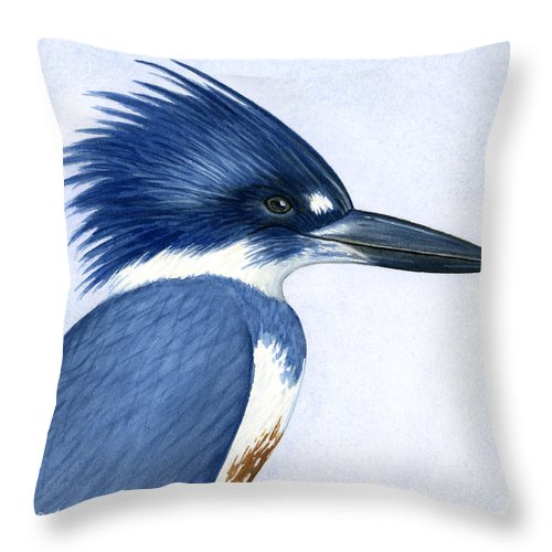 Kingfisher Throw Pillow featuring the painting Kingfisher Portrait by Charles Harden