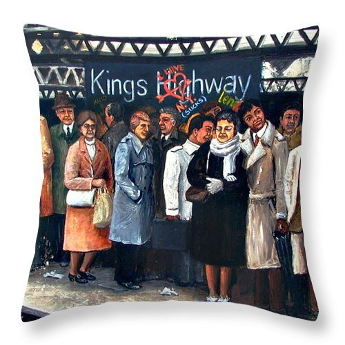 Ny City Throw Pillow featuring the painting Kings Highway Subway Station by Leonardo Ruggieri