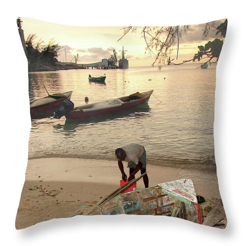Kingston Throw Pillow featuring the photograph Kingston Jamaica Beach by Brett Winn