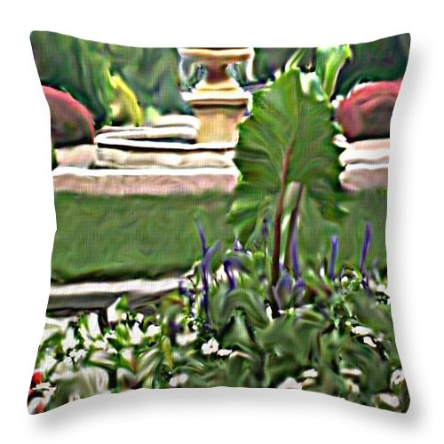 Landscape Throw Pillow featuring the digital art Kingwood Center 1 by Crystal Webb