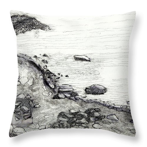 Throw Pillow featuring the painting Kinnacurra Shore by Kathleen Barnes