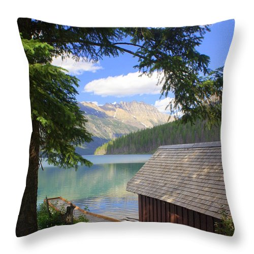 Glacier National Park Throw Pillow featuring the photograph Kintla Lake Ranger Station Glacier National Park by Marty Koch