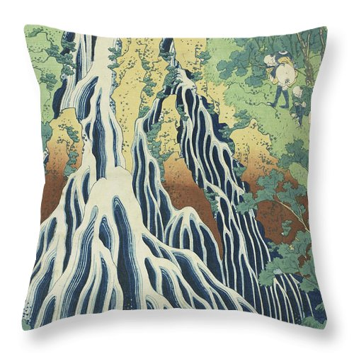 Hokusai Throw Pillow featuring the painting Kirifuri Falls Near Mount Kurokami In Shimotsuke Province by Hokusai