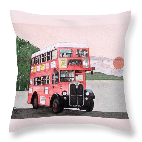 Bus Throw Pillow featuring the painting Kirkland Bus by Gale Cochran-Smith