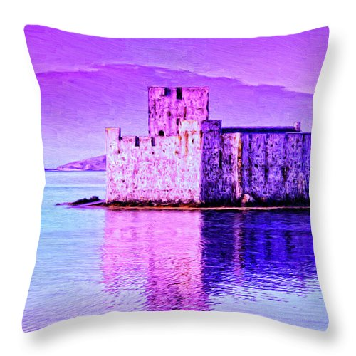 Castle Throw Pillow featuring the painting Kisimul Castle by Dominic Piperata