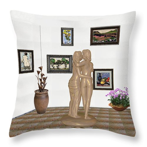 Modern Painting Throw Pillow featuring the mixed media Kiss 3 by Pemaro