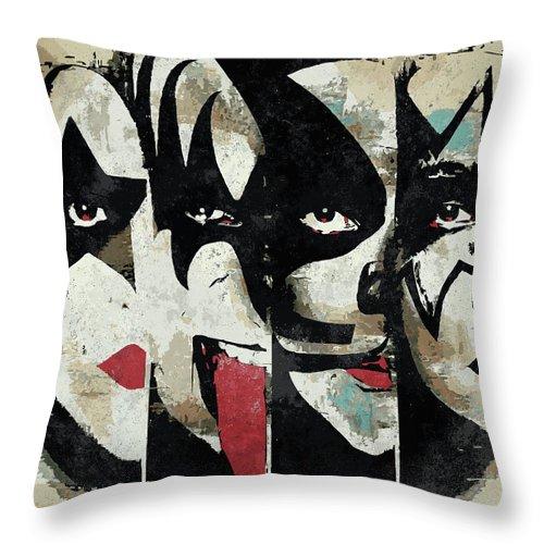 Art Throw Pillow featuring the digital art KISS Art Print by Geek N Rock