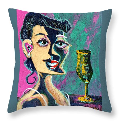 Woman Throw Pillow featuring the painting Kiss From The Night by Dennis Tawes