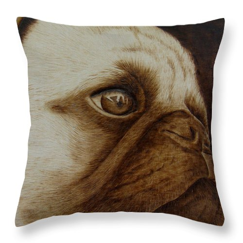 Pyrography; Woodburning; Sepia; Pug; Dog; Puppy; Throw Pillow featuring the pyrography Kiss Me by Jo Schwartz