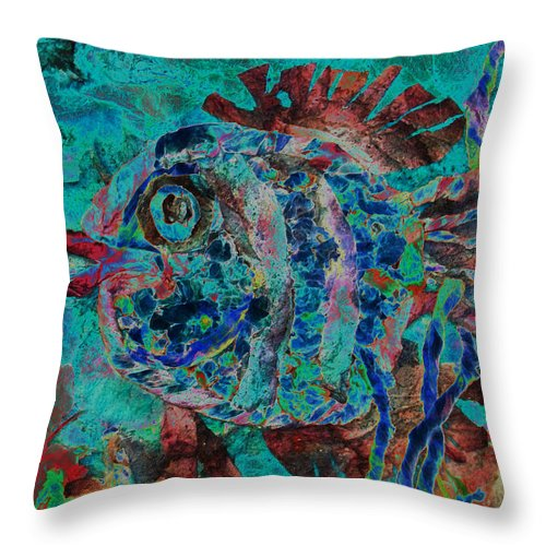 Fish Throw Pillow featuring the mixed media Kiss Me by Sue Duda