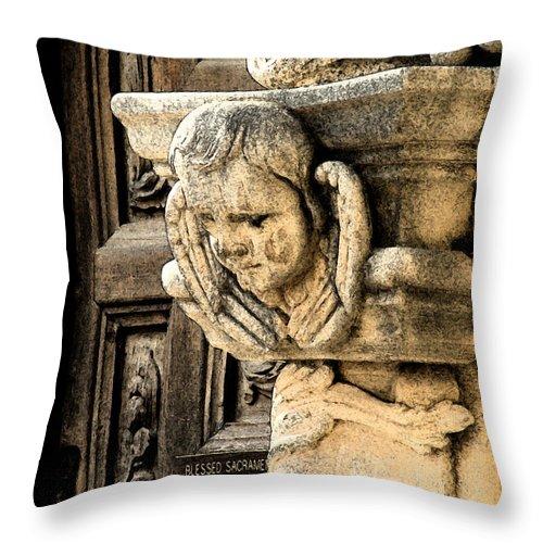 Angel Throw Pillow featuring the digital art Kiss On The Cheek by Mark Grayden