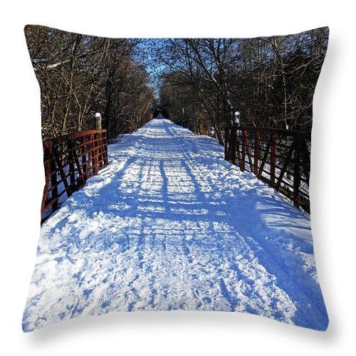 Kissing Bridge Throw Pillow featuring the photograph Kissing Bridge Trail by Debbie Oppermann
