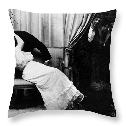 -kissing- Throw Pillow featuring the photograph Kissing, C1900 by Granger